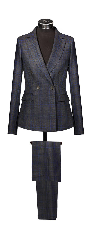 Женский двубортный костюм из ткани Carne Selection